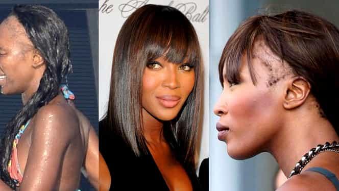 Fotografie șoc: Naomi Campbell a pozat fără perucă! Artista are mari probleme cu părul