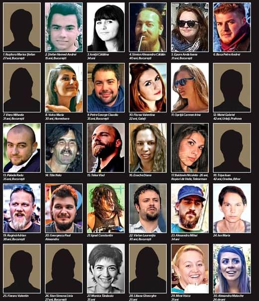 Cine sunt cei 30 de oameni morţi în tragedia din Club Colectiv