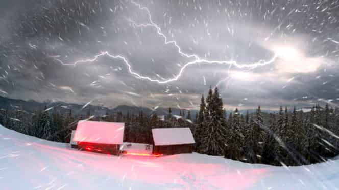Fenomen incredibil apărut la Buzău! Ninsoare cu fulgere, în ianuarie. GALERIE FOTO și VIDEO