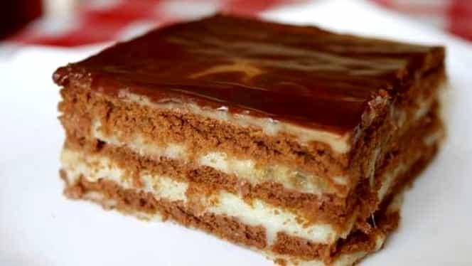 Rețeta zilei de 27 noiembrie. Prăjitură cu foi de cacao și umplutură de vanilie