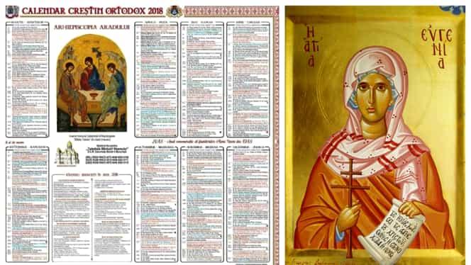 Calendar ortodox luni, 24 decembrie 2018: în Ajun este pomenită Sfânta Muceniță Eugenia