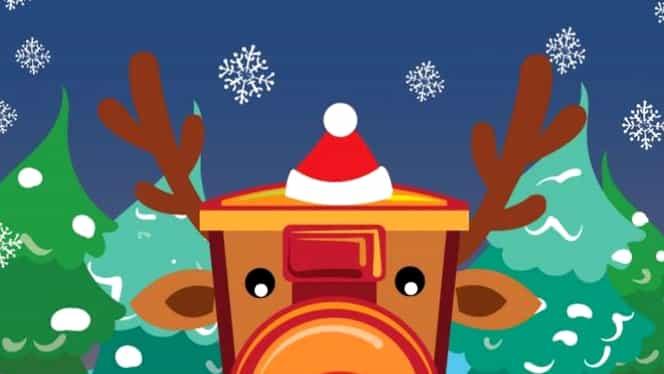 Trenul lui Moș Crăciun s-a pus în circulație. Copiii sunt așteptați cu bomboane și colinde