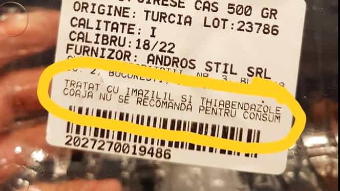 Cireșe chimice la un hypermarket din Capitală! Producătorul nu recomandă consumul cojilor!