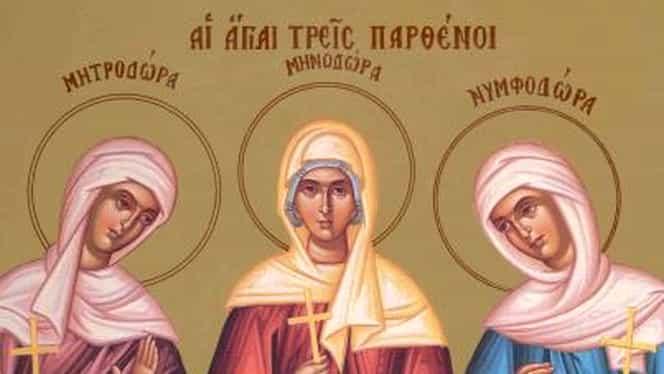 Calendar ortodox 10 septembrie. Sunt prăznuite Sfintele Mucenițe Minodora, Mitrodora și Nimfodora