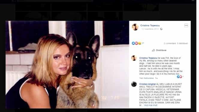 """Cristina Țopescu l-a iubit enorm pe câinele Fix. """"Este dragostea vieții mele"""""""