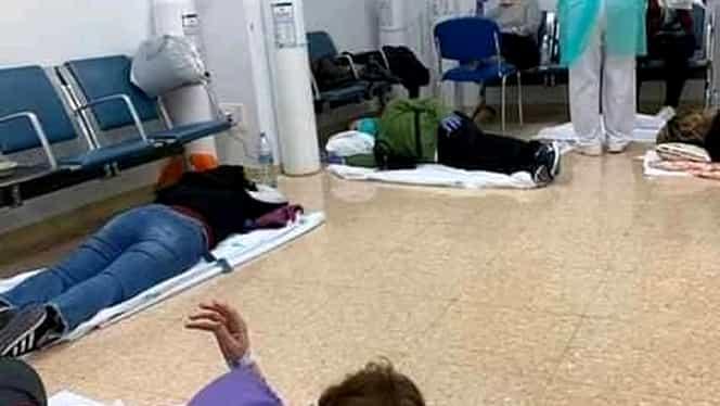 Spitalele din Spania sunt sufocate de pacienți. Imagini teribile cu oameni întinși pe jos pe holurile unităților medicale. VIDEO