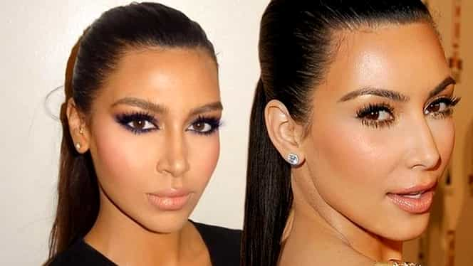 """GALERIE FOTO. Ea e """"geamăna"""" lui Kim Kardashian! Fanii vedetei sunt şocaţi"""