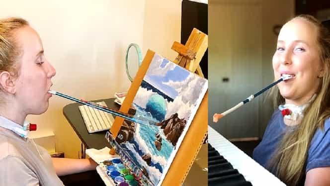 O tânără de 21 de ani, paralizată de la gât în jos, pictează și cântă la pian cu gura – VIDEO/ FOTO