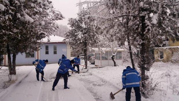 Jandarmii prahoveni au deszăpezit curtea unui cămin de bătrâni