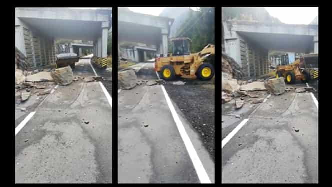 Circulație închisă pe Transfăgărășan. Bucăți dintr-o stâncă au căzut pe DN 7C – Video