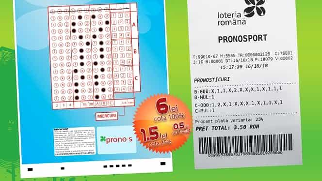 Câștig record la Pronosport! Un jucător din Tulcea a încasat 84.847 lei! Anunțul făcut de Loteria Română