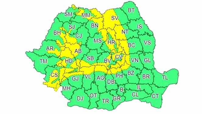 Atenționare ANM: Cod galben de vreme rea pentru 27 de județe din țară