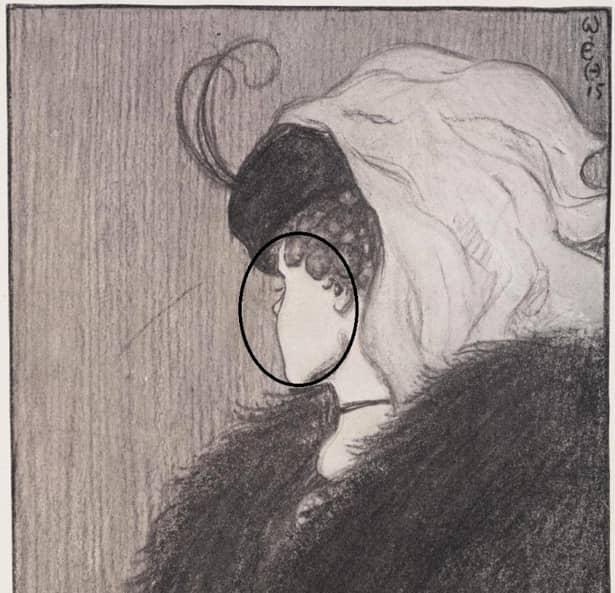 Nasul femeii în vârstă este, de fapt, bărbia unei domnișoare. Sursa foto:realitatea.net