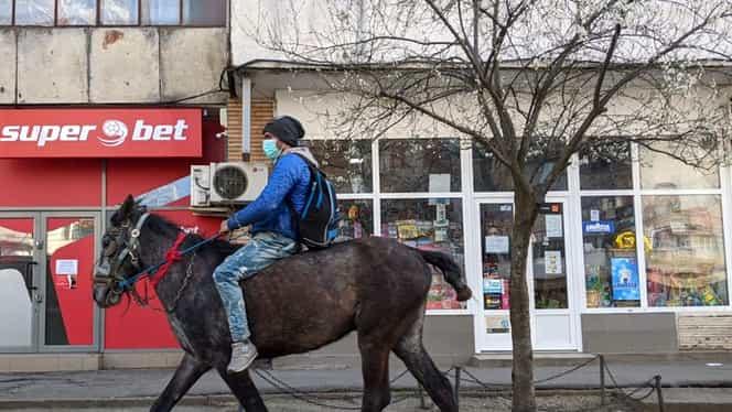 Un tânăr din Iaşi a ieşit cu calul prin oraş, în plină perioadă de restricţii de circulaţie din cauza coronavirusului. Călăreţul a fost imediat oprit de poliţişti