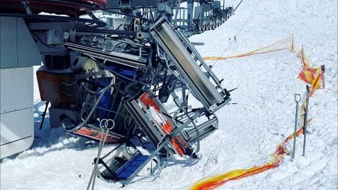 Video. Teroare la schi! Oameni aruncaţi dintr-un telescaun rămas fără frâne