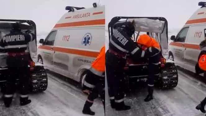 Situaţie critică în Constanţa! Ambulanţă cu doi copii, blocată în zăpadă