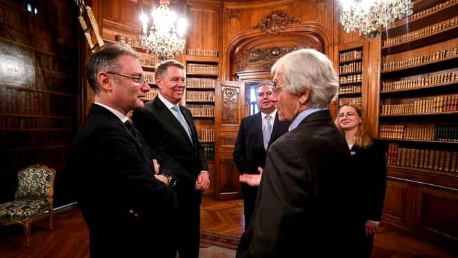 Klaus Iohannis a făcut o glumă cu Gerard Mourou, laureatul premiului Nobel pentru Fizică