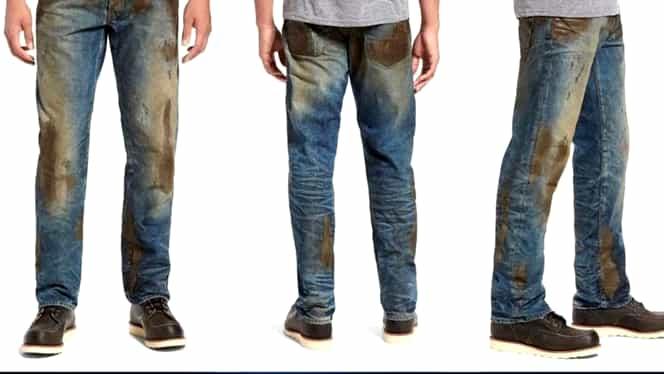Moda care îi jigneşte pe americani! Cât costă o pereche de pantaloni murdari de noroi! GALERIE FOTO