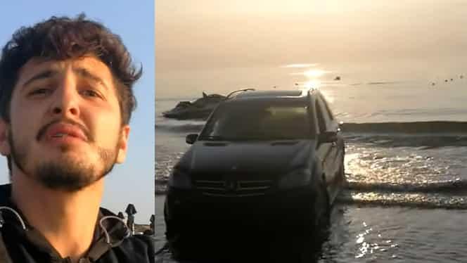 Scene revoltătoare pe litoralul românesc. Un turist a intrat cu mașina în mare. Cum a reacționat șoferul când a fost filmat VIDEO