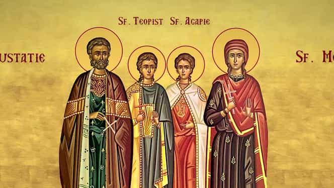Calendar ortodox, 20 septembrie. Este prăznuit Sfântul Mare Mucenic Eustatie și soția sa, Teopista, cu cei doi fii: Agapie și Teopist