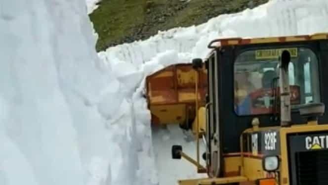 Video! Zăpadă de șase metri pe Transfăgărășan! Când va putea fi parcurs în siguranță!