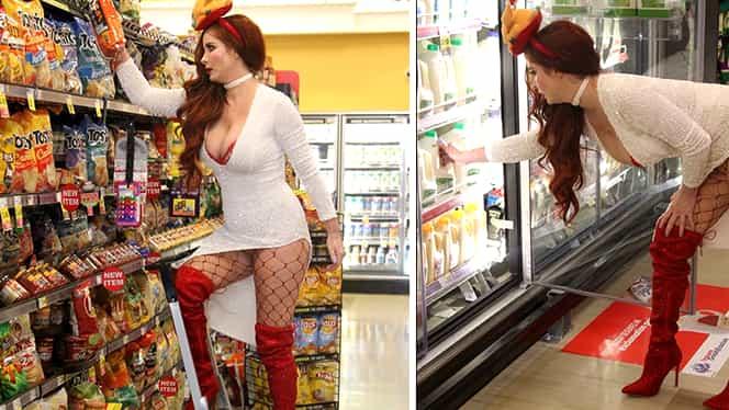 Cum a fost fotografiată această roşcată într-un supermarket! Toată lumea i-a făcut poze