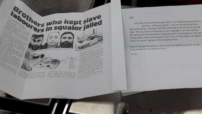 """Scrisori xenofobe primite de românii care muncesc în Marea Britanie: """"Plecați acasă și luați-vă escrocii și tiganii cu voi"""""""