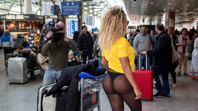 Vedeta nu are nicio ruşine! Cum a apărut pe aeroport! Bătrânul din imagine nu s-a putut abţine