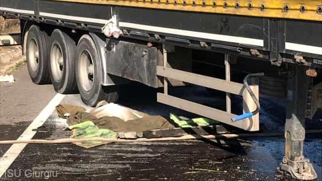 Accident grav pe drumul dintre Giurgiu şi Bucureşti. Un TIR cu azotat de amoniu s-a răsturnat. Pericol de explozie