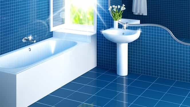 Bicarbonatul de sodiu, cel mai eficient truc pentru petele din baie. Cureți gresia și faianța în timp record