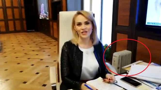 Gabriela Firea se încălzește cu caloriferul electric în biroul de la Primăria Municipiului București. Video
