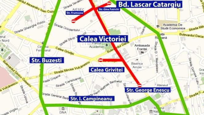 Trafic restricţionat în Capitală! În weekend, Calea Victoriei devine pietonală! Ce străzi vor fi blocate pentru maşini