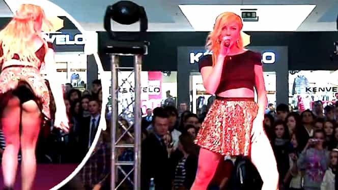 Lora, show erotic într-un mall din Tg Mureş! Rochiţa i-a jucat feste şi s-a văzut tot!