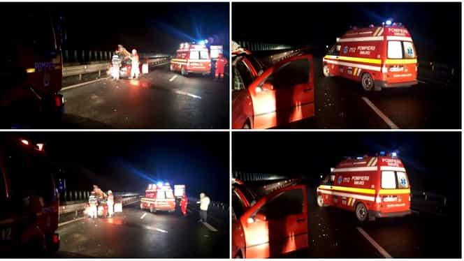 Accident grav pe A1, în care a fost implicat un microbuz cu 7 pasageri. Bilanțul victimelor: un mort și mai mulți răniți
