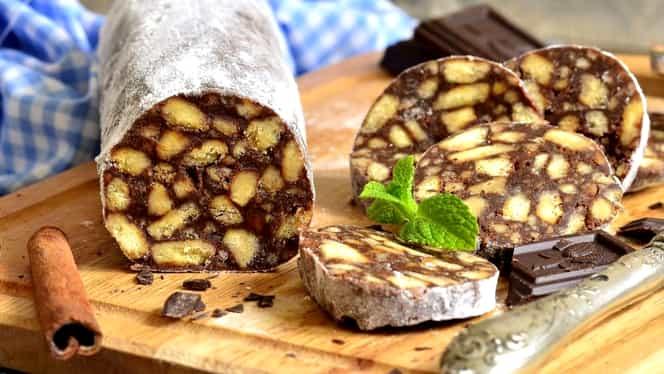 Salam de biscuiți cu ciocolată și rahat. Cea mai simplă rețetă