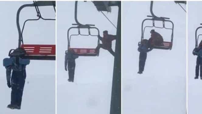 Video! Turistă salvată de la 5 metri înălţime, după ce rămâne agăţată de un telescaun din judeţul Alba