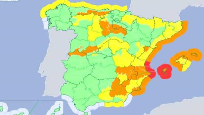 Atenționare de călătorie în Spania, unde este activ un cod portocaliu din cauza furtunii Gloria