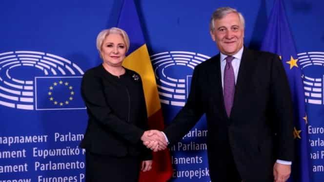 Viorica Dăncilă, cină cu Antonio Tajani, președintele Parlamentului European! Ce i-a transmis premierul