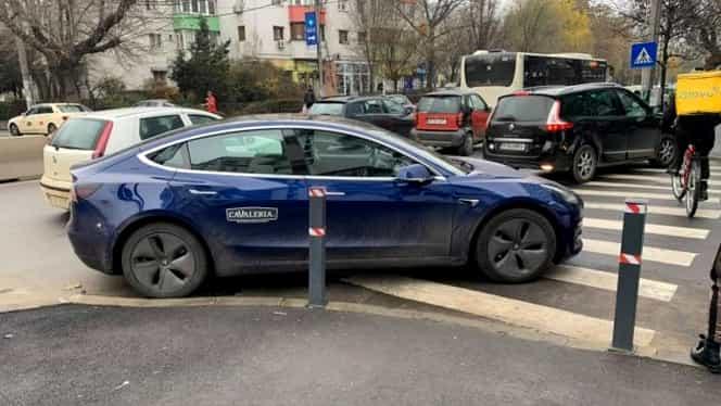 """George Buhnici și-a parcat mașina Tesla pe trecerea de pietoni! """"Lasă-ne o adresă să trimitem nişte baterii alcaline pentru bun-simţ"""""""