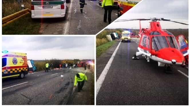 Accident cumplit! Cel puțin 13 morți și zeci de răniți în urma unei coliziuni dintre un autobuz și un camion în Slovacia