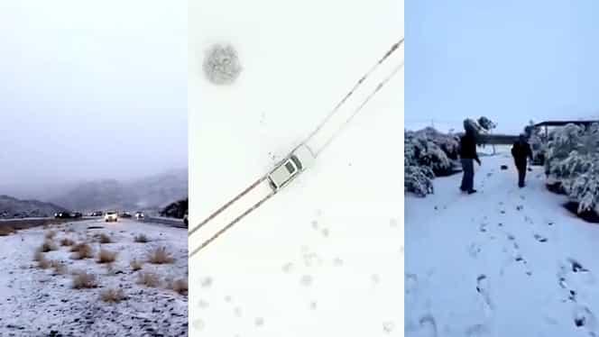 A nins în deșert! Zăpezi abundente în Arabia Saudită, fenomen ce îi îngrijorează pe meteorologi – Video