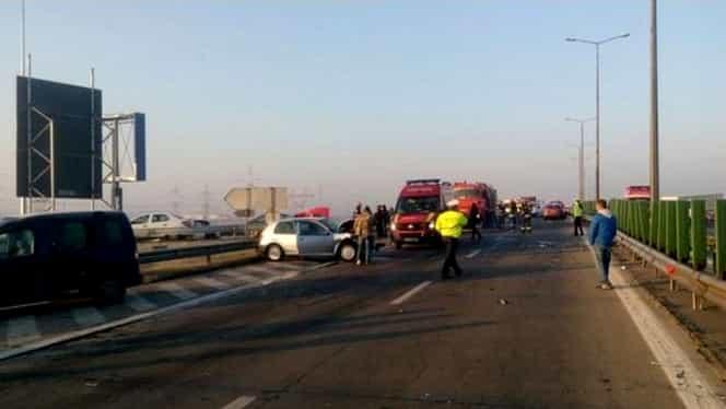 Accidente în lanț pe A3: 8 mașini au fost implicate. Traficul a fost blocat