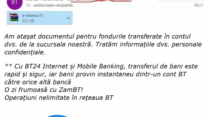 Banca Transilvania, avertisment pentru toţi clienţii! Tentativă de  phishing online în numele băncii