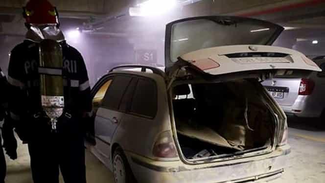 Incendiu în parcarea unui mall din Sibiu. Centrul comercial a fost evacuat. Foto + Video