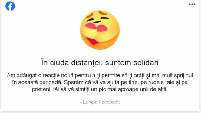 """Emoticon nou pe Facebook, în perioada pandemiei: """"În ciuda distanței, suntem solidari"""""""