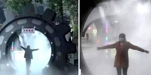 Tuneluri de dezinfectare împotriva coronavirusului pe străzile din China! Imagini ca din filmele SF. Video