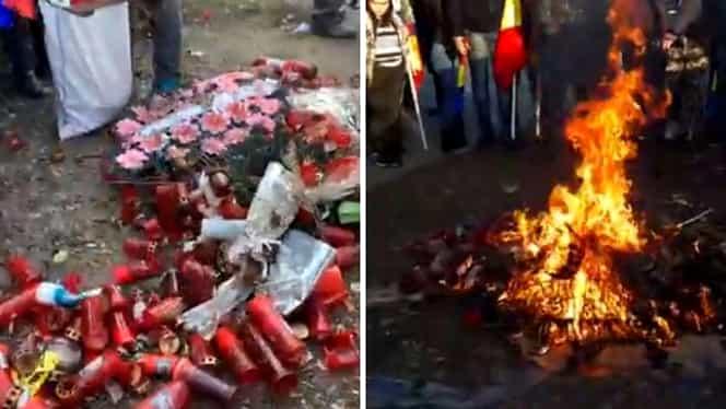 Video. Scandal imens la Caracal. Rudele Alexandrei și Luizei au dat foc în fața casei lui Gheorghe Dincă