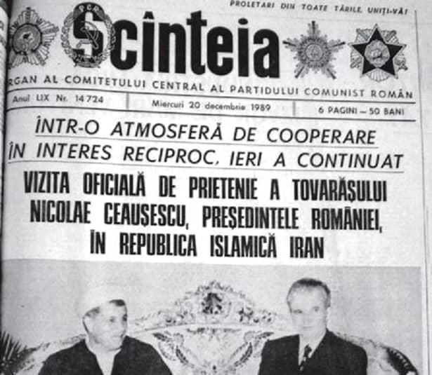 Nicolae Ceaușescu în Iran, cu 5 zile înainte să fie executat la Târgoviște după un simulacru de proces