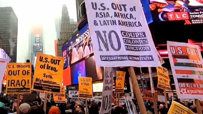 Proteste în Statele Unite ale Americii, împotriva lui Donald Trump, cu sloganuri anti-război după criza izbucnită în Iran – Video