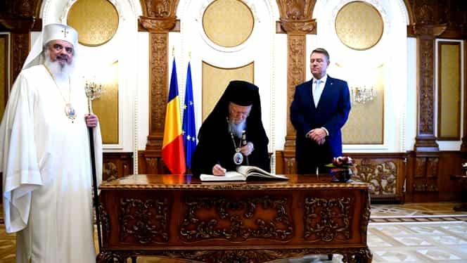 Patriarhul Daniel și Patriarhul Ecumenic Bartolomeu, primiți de Klaus Iohannis la Palatul Cotroceni